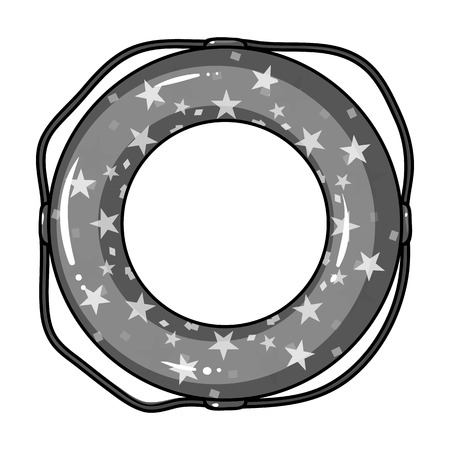 Multicolored swimming circle for relaxing. Swimming circle single icon in monocrome style vector symbol stock illustration .