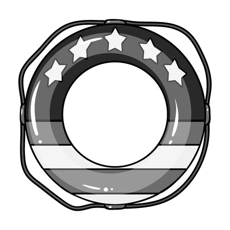 Multicolored swimming circle for relaxing. Swimming circle single icon in monocrome style vector symbol stock illustration web.
