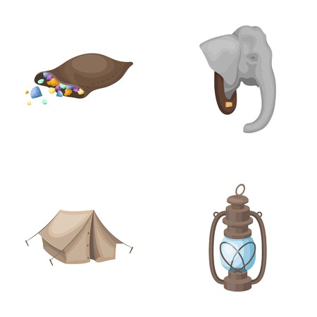 A bag of diamonds, an elephants head, a kerosene lamp, a tent. African safari set collection icons in cartoon style vector symbol stock illustration web. Illustration
