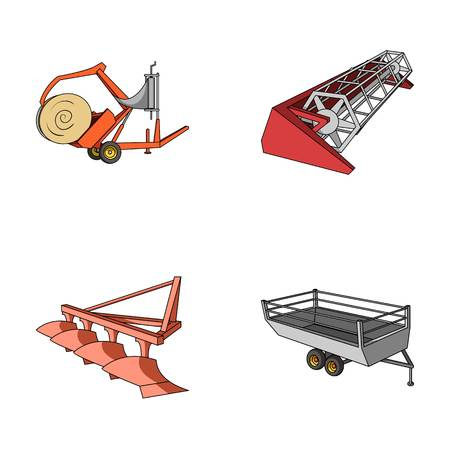 Plow, combine thresher, trailer and other agricultural devices. Agricultural machinery set collection icons in cartoon style vector symbol stock illustration web.