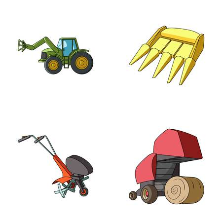 Motoblock and other agricultural devices. Agricultural machinery set collection icons in cartoon style vector symbol stock illustration web.
