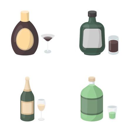 Liquore cioccolato, champagne, assenzio, liquore di erbe. Icone di raccolta set di icone in stile vettoriale simbolo vettoriale stock illustrazione web. Vettoriali