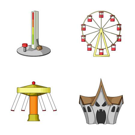 house logo: The device with a bat for measuring strength, a ferris wheel, a carousel, a house with windows. Amusement park set collection icons in cartoon style vector symbol stock illustration web. Illustration