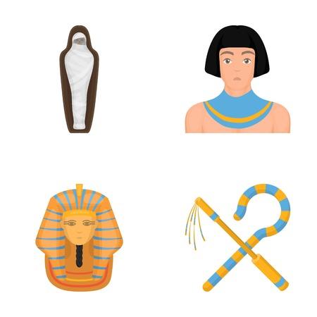 Oplichter en dorsvlegel, een gouden masker, een Egyptenaar, een mummie in een graf. Oude Egypte set collectie iconen in cartoon stijl vector symbool stock illustratie web. Stock Illustratie