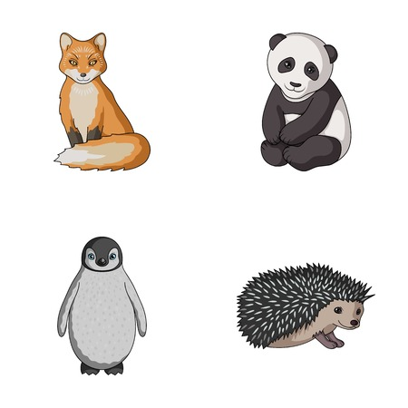 폭스, 팬더, 고슴도치, 펭귄 및 다른 animals.Animals 만화 스타일에서 컬렉션 아이콘을 설정 벡터 기호 재고 일러스트 웹입니다.