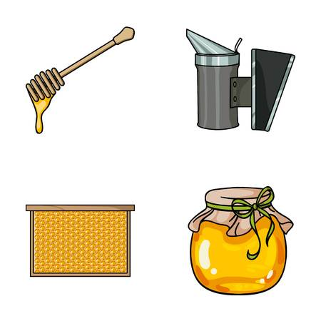 A frame with honeycombs, a ladle of honey, a fumigator from bees, a jar of honey.Apiary set collection icons in cartoon style vector symbol stock illustration web.