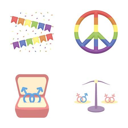 フラグ、虹、エンブレム、リング。漫画のスタイルベクトルシンボルストックイラストウェブでゲイセットコレクションのアイコン。