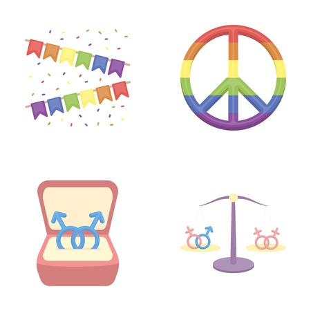 Flags, rainbow, emblem, rings. Gay set collection icons in cartoon style vector symbol stock illustration web.
