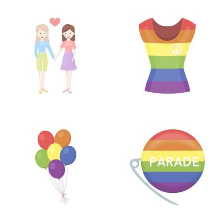 Lesbians, dress, balls, gay parade. Gay set collection icons in cartoon style vector symbol stock illustration web.