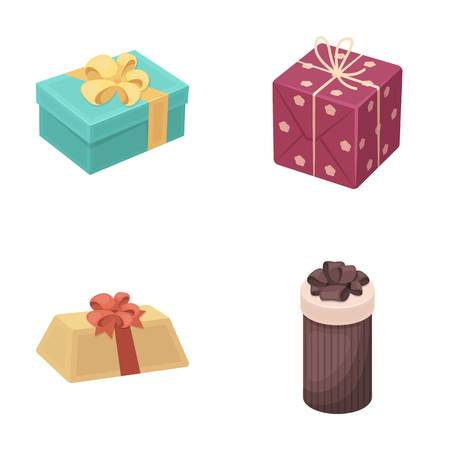 Gift box with bow, gift bag.Gifts and certificates set collection icons in cartoon style vector symbol stock illustration web. Illustration