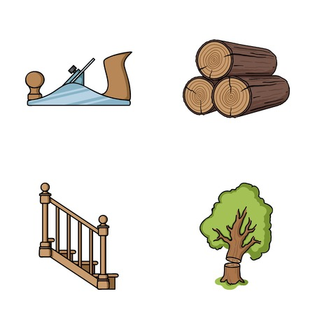 Logs in a stack, plane, tree, ladder with handrails. Sawmill and timber set collection icons in cartoon style vector symbol stock illustration web.