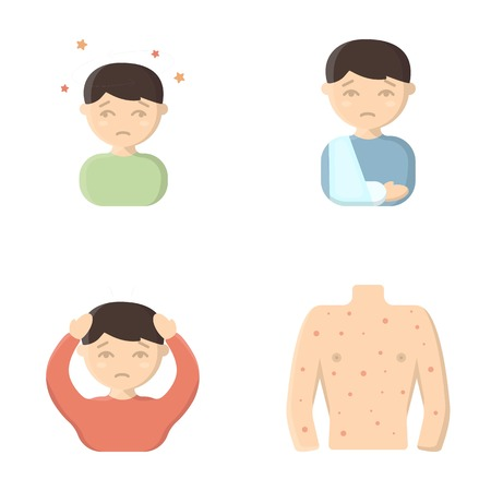 pain: A boy with a headache, with stars, a man with a broken hand in a cast, a sick man grabbed his head with his hands, a mans torso with ulcers and a rash. Sick set collection icons in cartoon style vector symbol stock illustration web.