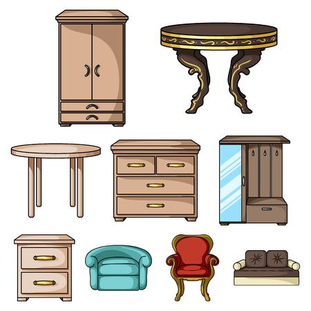 Meubilair en interieur set pictogrammen in cartoon stijl. Grote verzameling van meubels en interieur vector symbool stock illustratie