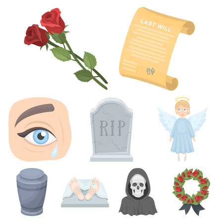 car isolated: Funeral ceremony, cemetery, coffins, priest.Funeral ceremony icon in set collection on cartoon style vector symbol stock illustration. Illustration