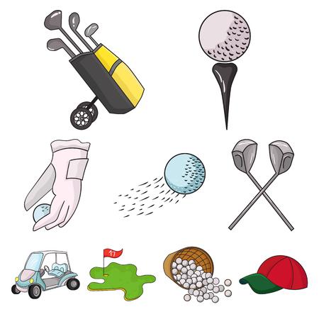 Golf club set icons in cartoon style. Big collection of golf club vector symbol stock illustration Illusztráció