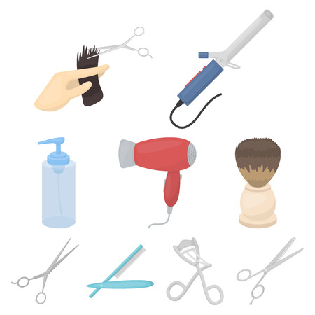 Hairdresser set icons in cartoon style. Big collection of hairdresser vector symbol stock illustration Illustration