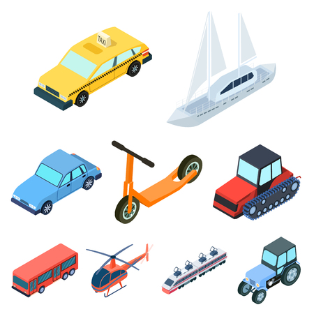 car isolated: Land, water, air transport. Machines that people use.Transportation icon in set collection on cartoon isometric style vector symbol stock illustration.