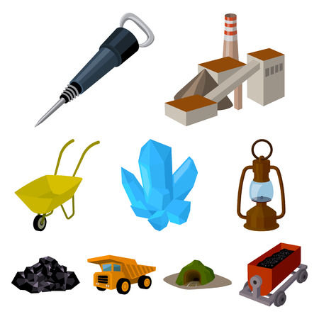 pick light: Set of icons about the mine. The extraction of coal, minerals, protection of the miners. Processing of coal.Mine industral icon in set collection on cartoon style vector symbol stock illustration.