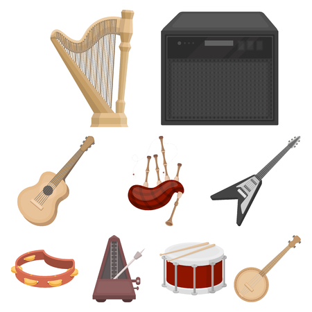metronome: Musical instruments set icons in cartoon style. Big collection of musical instruments vector symbol stock illustration Illustration