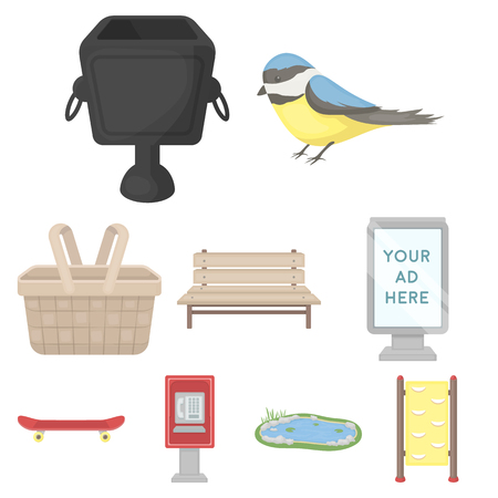 parus: Park set icons in cartoon style. Big collection of park vector symbol stock illustration Illustration