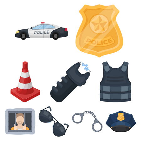Police equipment, police, prisoners, protection of citizens.Police icon in set collection on cartoon style vector symbol stock illustration.