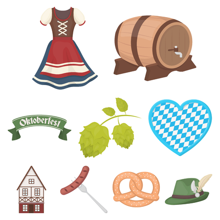 Oktoberfest set icons in cartoon style. Big collection of Oktoberfest vector symbol stock illustration