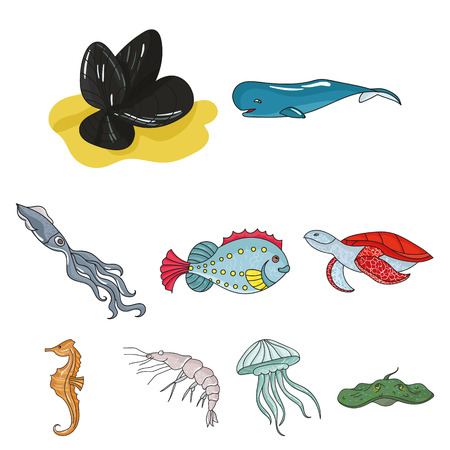 inhabitants: Marine and river inhabitants. Fish, whales, octopuses.Sea animals icon in set collection on cartoon style vector symbol stock illustration.