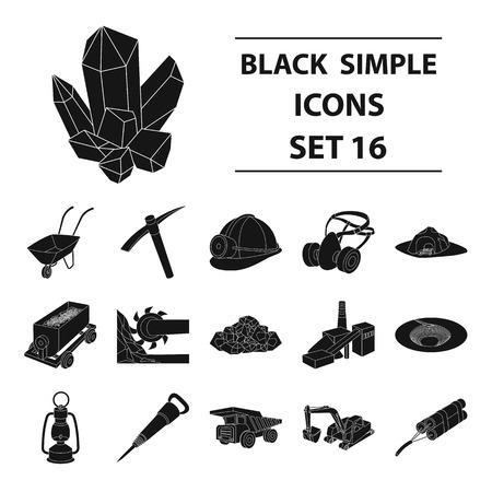Excavator, jackhammer, helmet and other items for the mine. Mine set collection icons in black style vector symbol stock illustration web. Vektoros illusztráció