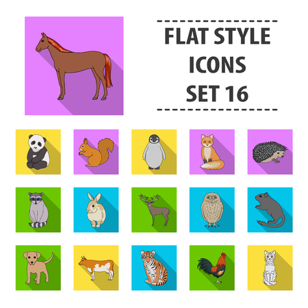 lapin: Deer, tiger, cow, cat, rooster, owl and other animal species.Animals set collection icons in flat style vector symbol stock illustration web.