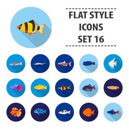 Aquarium fish set icons in flat style. Big collection aquarium fish vector symbol stock illustration