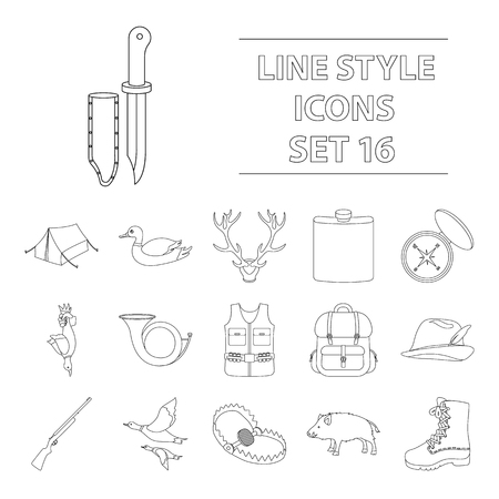 Hunting set icons in outline style. Big collection of hunting vector illustration symbol. Çizim