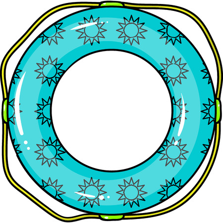 rescuing: Multicolored swimming circle for relaxing. Swimming circle single icon in cartoon style vector symbol stock illustration web. Illustration