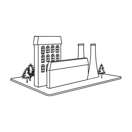 Processing factory icon in outline style isometric illustration. Ilustração
