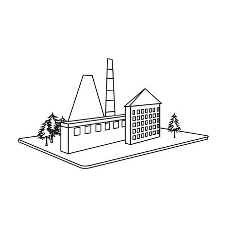 Verwerking fabriek. Fabriek en industrie één pictogram in het kader van de de voorraadillustratie van de overzichtsstijl isometrisch vectorsymbool. Stock Illustratie