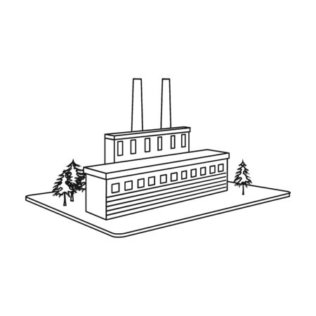 Processing factory icon in outline style isometric illustration. Illustration