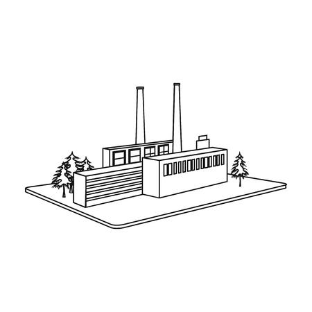 Verwerking fabriek. Fabriek en industrie één pictogram in het kader van de de voorraadillustratie van het overzichts stijl isometrisch vectorsymbool.