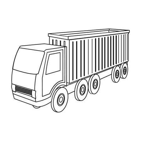 delivery service: Large truck icon in outline style isometric illustration.