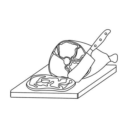 Meat slicing icon in outline style illustration.