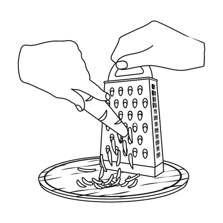 Grater icon in outline style illustration. Illustration