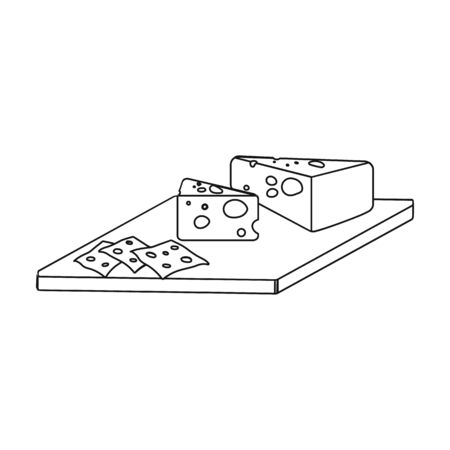Cheese icon in outline style illustration. Иллюстрация
