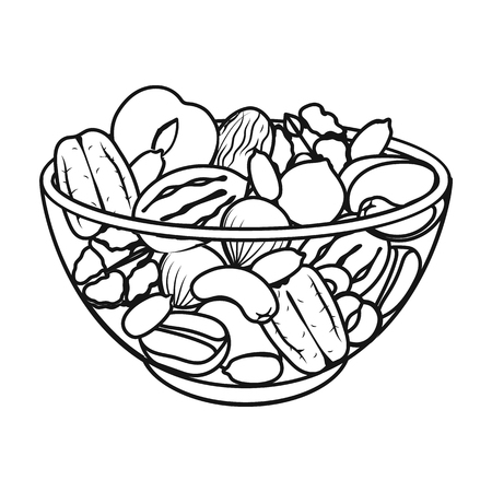 A mixture of different kinds of nuts. Different nuts single icon in outline style vector symbol stock illustration web.
