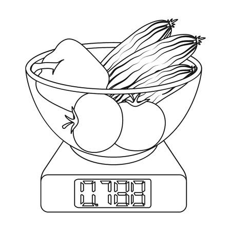 Scales, single icon in outline style.Scales, vector symbol stock illustration web. Illustration