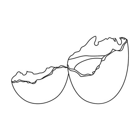壊れた卵。卵。そして、アウトラインスタイルベクトルシンボルストックイラストウェブで単一のアイコンを調理。