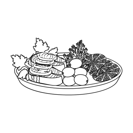 Eating fish and salad. Eating and cooking single icon in outline style vector symbol stock illustration web. Illustration