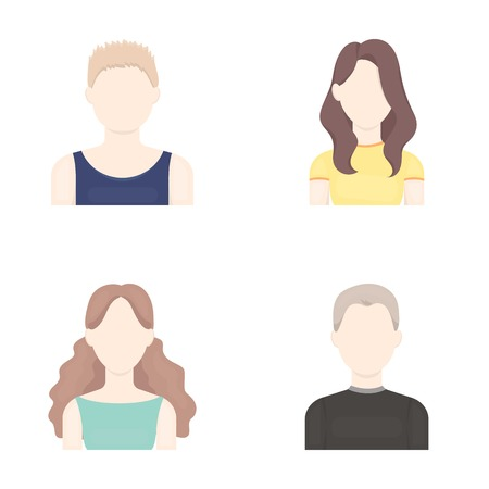 Girl with long hair, blond, curly, gray-haired man.Avatar set collection icons in cartoon style vector symbol stock illustration.