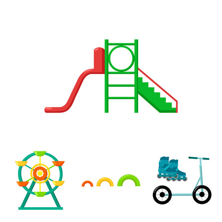 Ferris wheel with ladder, scooter. Playground set collection icons in cartoon style vector symbol stock illustration . Illustration
