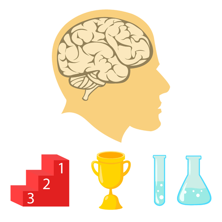 A cup, test tubes with a reagent, a pedestal, a mans head with a brain. School set collection icons in cartoon style vector symbol stock illustration web. Illustration