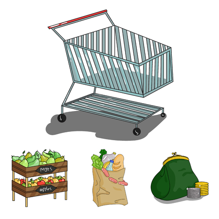 Sausages, fruit, cart .Supermarket set collection icons in cartoon style vector symbol stock illustration web.