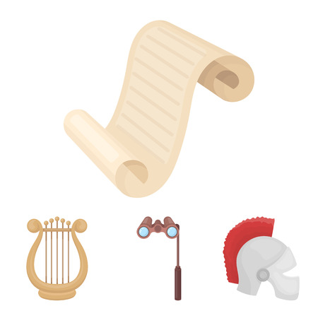 Theatrical binoculars, a helmet, a harp and a paper scroll. Illustration
