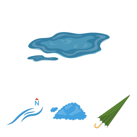 Cloud, umbrella, the north wind, a puddle on the ground. The weather set collection icons in cartoon style vector symbol stock illustration . Illustration